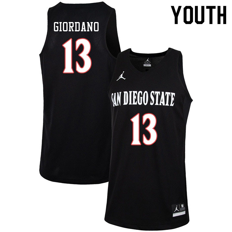 Jordan Brand Youth #13 Caleb Giordano San Diego State Aztecs College Basketball Jerseys-Black